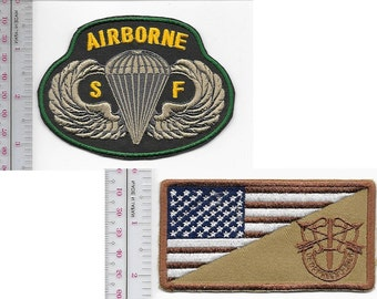 Green Beret US Army Special Forces Group Crest & SF Airborne Parachutist Wings