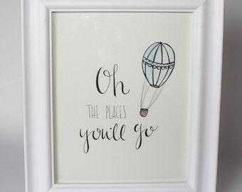 Oh The Places You'll Go - Original Watercolor | Painting | Nursery Decor | Nursery Art | Hot Air Balloon | Dr. Suess | Adventure | Nursery