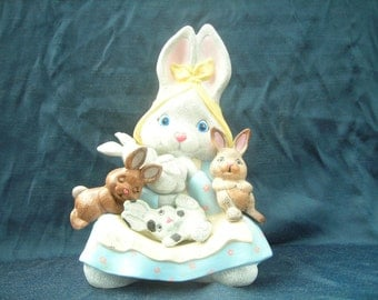 Ceramic Bunny with Lap full of Bunnies