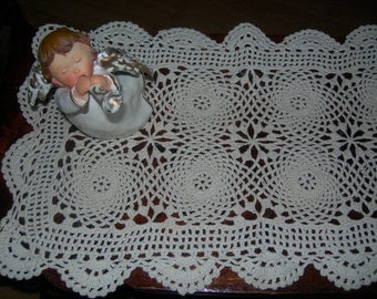 Vintage Shabby Chick Handcrafted white Doily