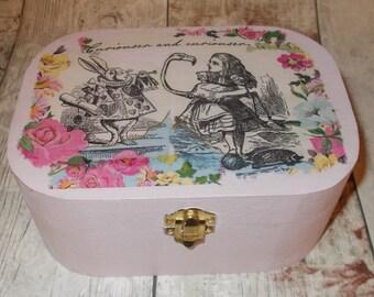 Alice In Wonderland Box, Shabby Chic Pink Jewellery Box, Trinket Box, Storage Box
