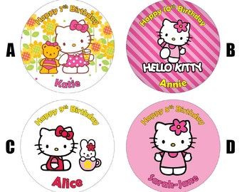 "Hello Kitty 7.5"" Edible Birthday Cake Topper Decoration Personalised"