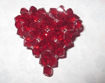Garnet 3D Swarovski Heart Pendant