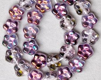 Tiny Daisy Flower Beads - Czech Glass Beads - Glass Flower Beads - 5mm x 4mm - Various Zairit Colors - Qty 25