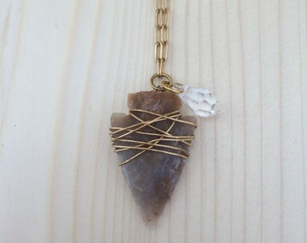 Wire-Wrapped Arrowhead Pendant Necklace