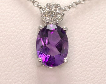 amethyst and diamond 9ct white gold pendant