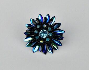 Ring with Swarovski beads - Peyote