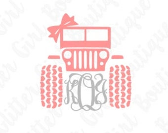 Jeep Decal with Bow and Monogram