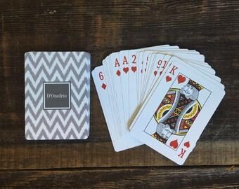 Monogrammed Gray Chevron Playing Cards, Custom Playing Cards, Custom Wedding Gift, Wedding Favor