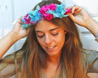 hydrangea,flower,dried,natural,preserved,crown,tiara,wreath,handmade,adjustable,floral,accesorie,bridal,flower,boho,hippie,natural,chic