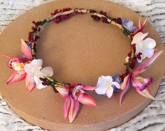 Hawaiian Flower Crown, Tropical, Hair Piece, Headband, Flower Crown, Wedding, Bride, Boho,