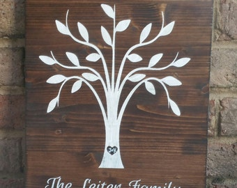 Family Tree Wood Sign, Hand painted Wood Sign, Family Tree with Name and Established Year Sign, Family Established Sign, Wood Sign