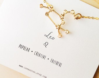 Leo Necklace, leo constellation necklace, gold leo necklace, constellation necklace, astrology sign necklace, zodiac jewelry, 14k