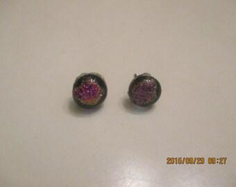 Multihued dichoric glass earrings