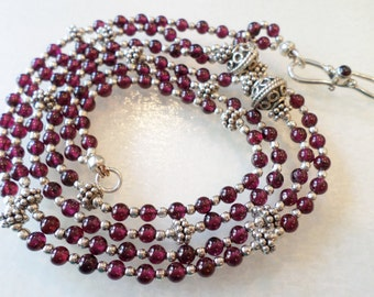 Sterling Silver 925 Stamped and Signed, Stunning Garnet Beads Double Strands Necklace.