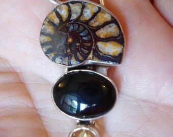 Sterling Silver Stamped, Handmade, Natural Ammolite Fossilized, Black Onyx and Natural Stone Pendant.
