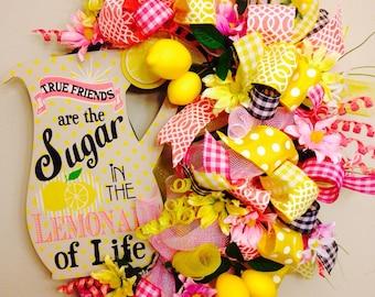 Lemonade wreath- Summer Spring Wreath- Pink Wreath- Yellow Wreath