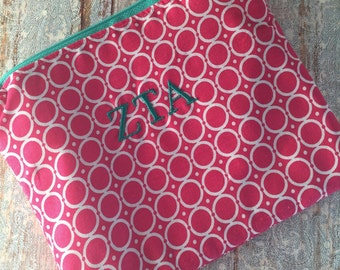 Zeta Tau Alpha Sorority Travel Cosmetic Bag - ZTA Sorority Travel Makeup Bag