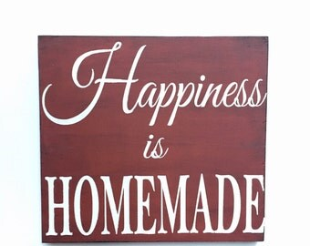 wooden sign, wedding, anniversary, gift, housewarming, rustic decor, Happiness is homemade, READY TO SHIP