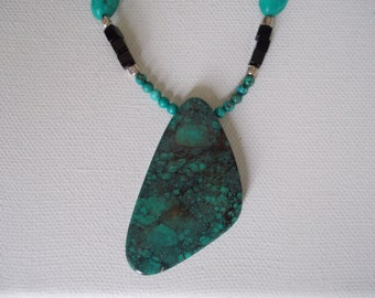 Turquoise and Onyx Necklace, Sterling Silver and Leather