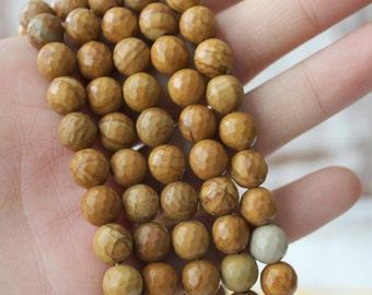 8mm Wood Jasper, Earthy Beads, Brown Beads, Faceted Beads, Full Strand, Wooden Jasper, Natural Gemstone