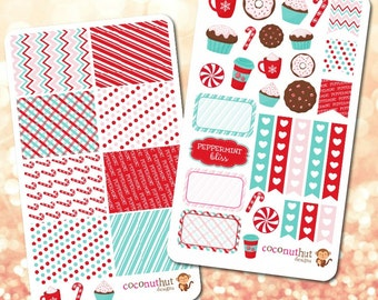 Peppermint / Hot Cocoa / Holiday / Christmas / Winter Theme Planner Stickers