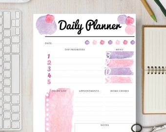 2017 Daily Planner Printable Calendar. Pink Watercolor Daily Instant Printable Page includes 4 sizes: A4, A5, Letter, and Half Page | #574