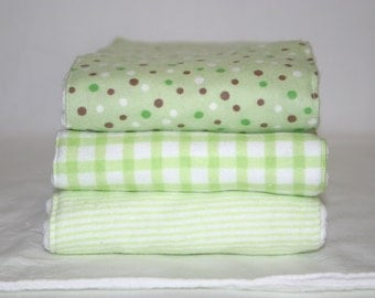 Gender neutral green burp cloths hand made set