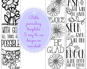 NEW! Bible journaling templates, 5 designs for journal edition Bibles printable instant download jpg and pdf