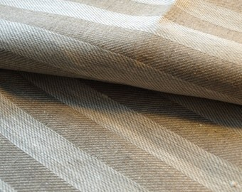 100% Natural Grey Linen Fabric Stripped