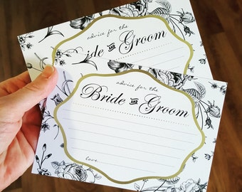 10x Advice for the Bride & Groom Cards - Black Floral
