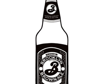 Brooklyn Brown Ale bottle - Hand-drawn illustration print