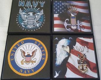 US Navy Ceramic Tile Drink Coasters / US Navy Coasters