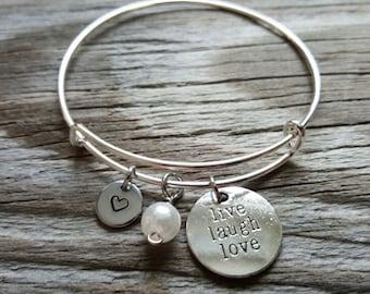 Hand Stamped Bangle Bracelet - Live Laugh Love- Live Laugh Love Bangle