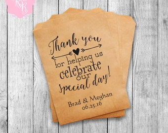 Set of 20 Wedding Favor Bags Wedding Favors Personalized Cookie Buffet Bags Candy Bar Bags Wedding Gift Idea Custom Wedding Favors Style 014