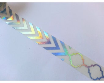 Patchwork Holographic Foil Iridescent Rainbow Chevron Lace Washi Tape Sample 24""