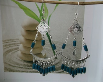 Blue duck tube beads Silver earrings