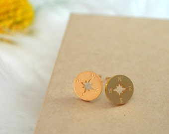 compass stud earrings, compass earrings, hiking earrings, camping earrings, summer earrings, gold compass earrings, silver compass earrings