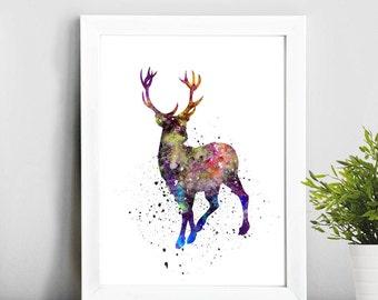 Deer art, Watercolor Art, Illustration Print, Home Decor, Baby Art, Gift Idea, Nursery,