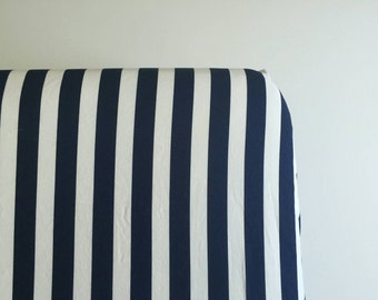 Navy and white stripped fitted crib sheet