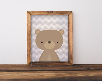 Printable Wall Art, Woodland Bear art, Baby Boy baby girl Nursery decor, Forest Animal print, Nursery art, Bear art, forest wall art