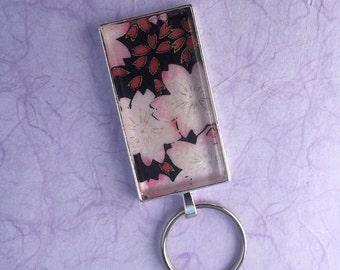 Sakura (Cherry Blossoms) on Pink Background Chiyogami Keychain