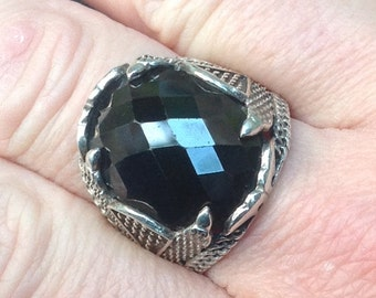 SALE 20% off Stunning Sterling Silver And Black Faceted Stone Statement Ring - Size W