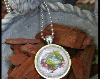 Bird nest necklace, dictionary art, thinking of you, happy birthday, just because, nature
