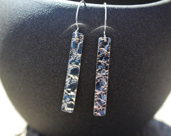 textured sterling silver drop earrings