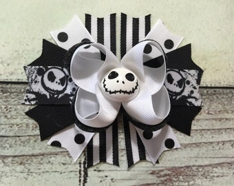 Halloween Jack Skellington Inspired Hair Bow Halloween Stacked Hair Bow Nightmare Before Christmas Hair Bow Halloween Boutique Bow