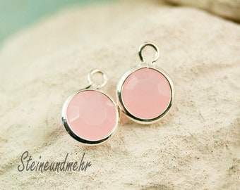5x charms metal pink opaque 7mm #3256