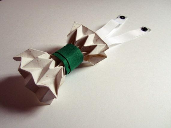 articles similaires noeud papillon origami vert et cru sur etsy. Black Bedroom Furniture Sets. Home Design Ideas