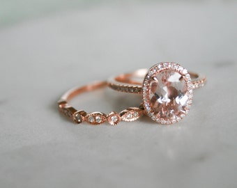 Oval Morganite Diamond, Halo Engagement Ring, Rose Gold Art Deco, Wedding set,  Morganite Wedding set, Diamond, Rose Gold, Halo Diamond