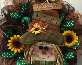 Fall Wreath, Autumn Wreath, Scarecrow Wreath, Welcome Fall